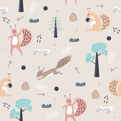Woodland animals hand drawn color seamless pattern. Cute squirrel, pine, spruce, cone. Wrapping paper, textile, background fill