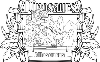 prehistoric predatory dinosaur allosaurus, coloring book, funny illustration Wall mural