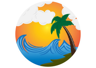 vector illustration of a tropical island with palm tree