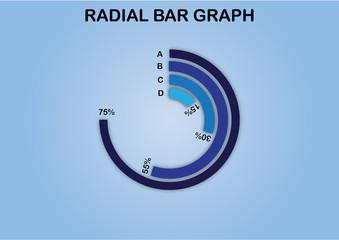 vector illustration of an abstract radial bar graph