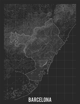 City map of Barcelona. Vector elevation map of town. Generated conceptual surface relief map. Detailed geographic elegant landscape scheme. Topographic outline poster.