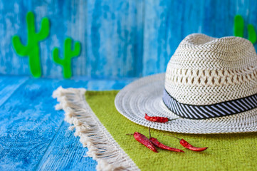 Printed roller blinds Lama Background to the Cinco de Mayo Mexican Fiesta. Hat, hot chili peppers and green cacti on a bright blue background