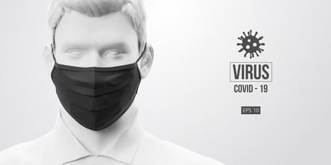 Novel coronavirus COVID-2019. Man in white color in black mask on a white background. Virus 2019-nCoV logo. Stay at home. Work from home. Medical mask and virus protection. Vector illustration