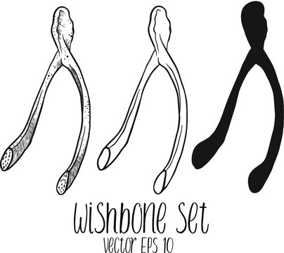 Cartoon set art of a clean, white Magical Wishbone sketch