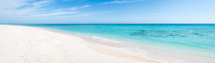 Wall Mural - Beach panorama with turquoise water and white sand