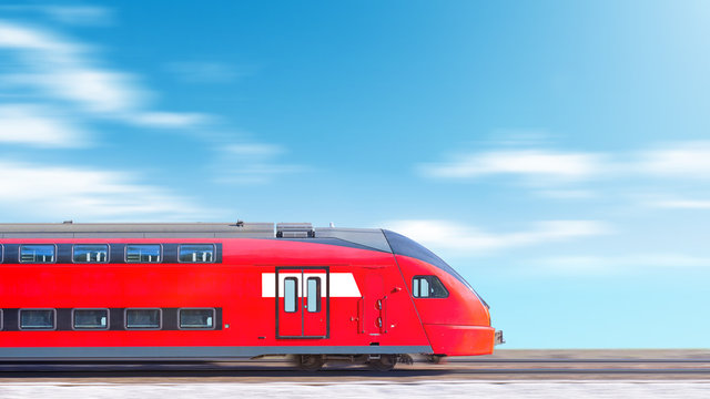 modern train in motion head car side view against blurred clouds sky background Commuter double decker train moving fast Wide panorama landscape banner for design
