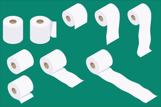 アイソメトリック 様々な トイレットペーパー ベクターイラストセット