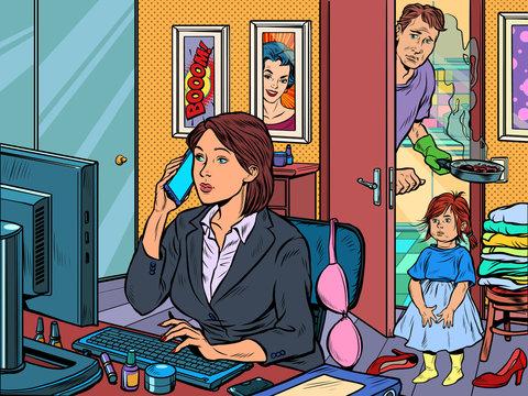 woman work at home freelance epidemic self isolation quarantine