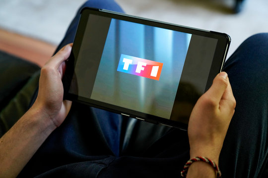 tf1 tv channel logo sign screen tablet computer of french service broadcaster in france