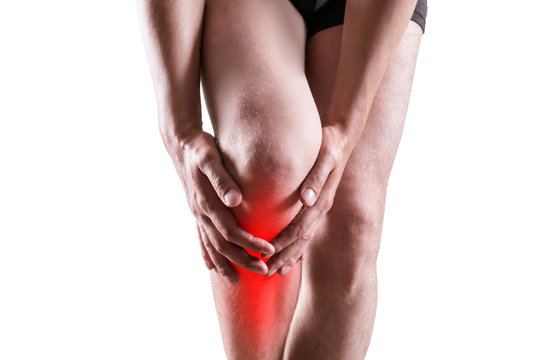 Pain in knee, joint inflammation isolated on white background