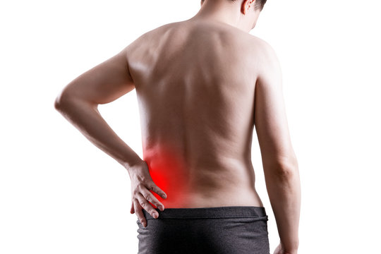 Kidney stones, pain in a man's body isolated on white background, chronic diseases of the urinary system concept