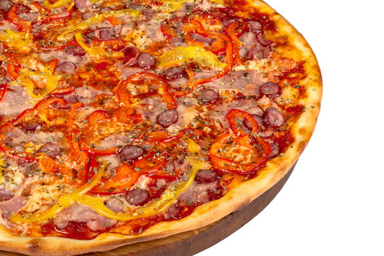 tasty pizza on a wooden board. italian food isolated on the white background