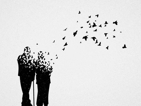 Silhouette of elderly couple and flying birds. Conceptual vector illustration about loss of loved one, human aging and death. Sad mystical background for design, prints, covers, t-shirts