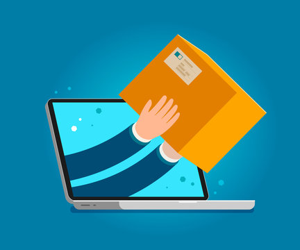 Delivery issued through web application on laptop. Business vector illustration