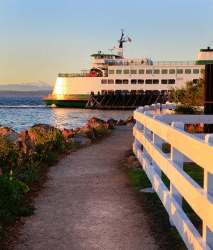Washington State ferry during sunset. Mukilteo, WA. Puget Sound.