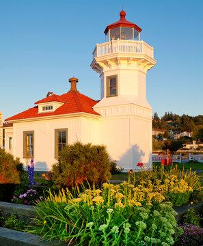 Lighthouse building during sunset, Mukilteo, WA. Puget Sound.