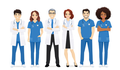 Multiethnic doctor team group set isolated vector illustration Fototapete