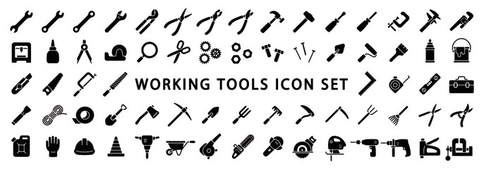 Big Set of Working Tools Icon (Flat Silhouette Version)