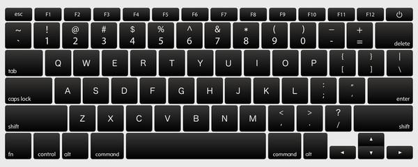 laptop computer keyboard dark black button vector