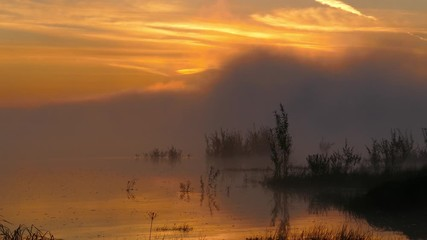 Fototapete - Landscape with sunrise on river in fog, timelapse 4k