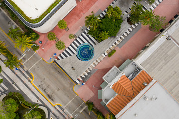 Miami Beach Lincoln Road shops closed observing social distancing order by president Trump shot with drone Wall mural