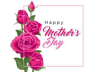 Happy mother's day. Vector banner, card, poster with beautiful pink roses. Lettering Happy mother's day. Greeting for social media with flowers Fotomurales