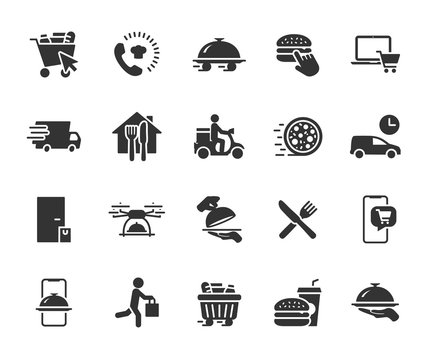 Vector set of food delivery flat icons. Contains icons food basket, online order, food at home, contactless delivery, fast food, courier, restaurant at home and more. Pixel perfect.