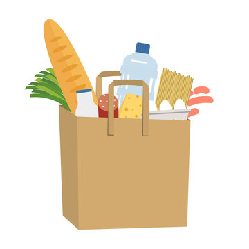 Shopping bag full of food and drinks. Food Delivery Concept. There is a bread, a bottle of milk, water, sausage, cheese, spaghetti, eggs and green onions in the picture. Vector illustration on a white