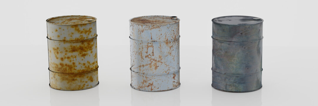 Oil barrel with rusty, leaking oil drum. Isolated on white background. 3D Rendering