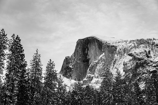 Low angle view of Half Dome against sky