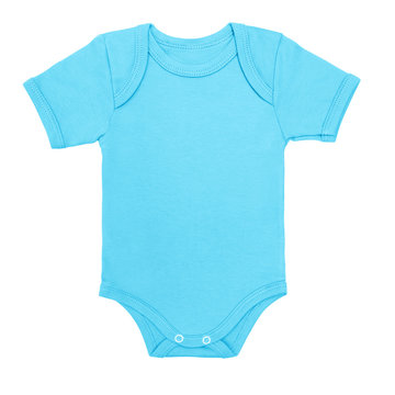 blue baby boy shirt bodysuit with short sleeve isolated on a white background. Mock up for design and placement of logos. Copy space for text or pictures