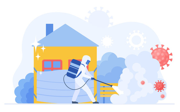 Man medical scientist in full hazmat suit disinfecting city street due to coronavirus pandemic flat vector illustration. Corona virus cleaning and disinfection service. Epidemic covid-19 concept