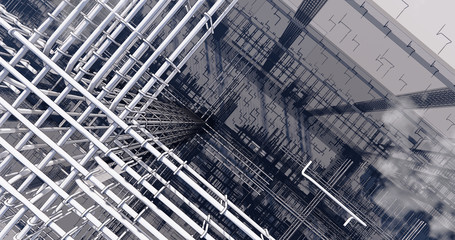 3D BIM model of reinforcement framework of the building