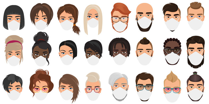 People avatars in masks cartoon flat vector illustration set isolated. Multi nationalities group men, women wearing medical masks to prevent disease, flu, coronavirus covid-19, air pollution, virus