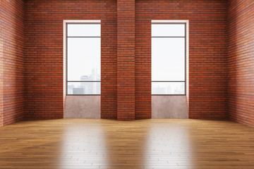 Modern gallery interior with red brick wall, two windows and city view