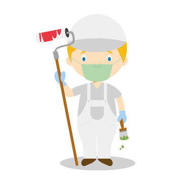 Cute cartoon vector illustration of a painter with surgical mask and latex gloves as protection against a health emergency