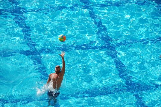 Man Playing Water Sport In Pool