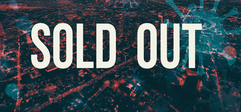 Sold out theme with downtown Los Angeles night time background