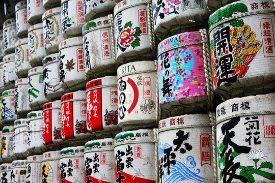Full Frame Shot Of Sake Barrels