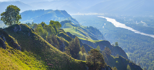 Wall Mural - View of the valley and the Katun River from the mountain, Altay. Spring panoramic view.