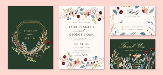 wedding invitation set with wild floral branches watercolor Fototapete