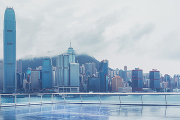 Wall Mural - Hong Kong Victoria Harbour view after rain