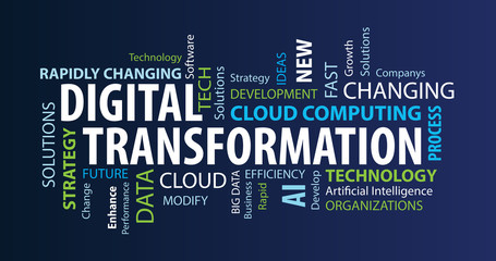 Digital Transformation Word Cloud on a Blue Background