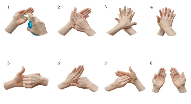 8 steps of hand wash procedure from alcohol gel for protection covid-19 outbreak. Woman hands using wash hand sanitizer blue gel from pump dispenser to prevent coronavirus, virus, bacteria and germ.