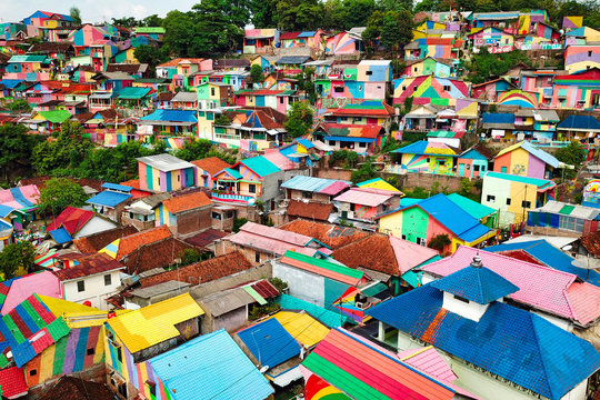 High Angle View Of Colorful Houses In Town