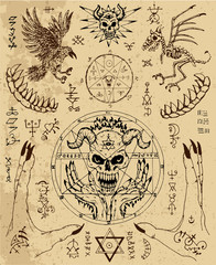Vector design set with magic seals, demon face, hands, crow and skeleton. Esoteric and occult illustration with mystic and gothic symbols. No foreign language, all elements are fantasy.