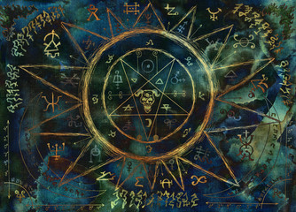 Ouija magic spiritual board design with pentagram and alchemy signs.