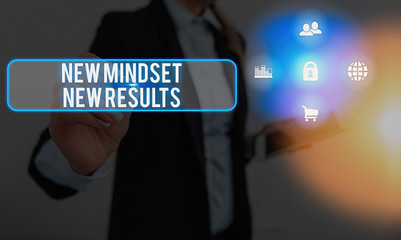 Text sign showing New Mindset New Results. Business photo text obstacles are opportunities to reach achievement