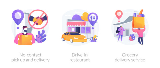 Safe way to get food and essentials abstract concept vector illustration set. No-contact pick up and delivery, drive-in restaurant, grocery delivery service in covid-2019 quarantine abstract metaphor.