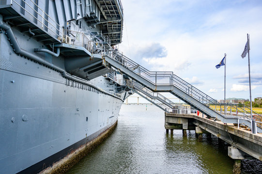 Liberty Point Naval and Maritime Museum, Charleston, South Carolina, USA - 10/2019:  Steps up to the USS Yorktown, a Essex-class World War II aircraft carrier